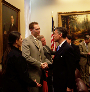 HEAL co-founder and former Executive DIrector, Jason Groenewold, meets Utah Governor Jon Huntsman, Jr.
